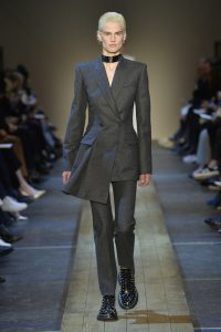 'Oxbridge Flannel'  on the runway: A model at the Alexander McQueen show wears a structured suit made in the cloth